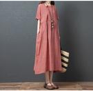 棉麻洋裝連身裙2103新款春夏裝韓版棉麻大碼收腰顯瘦中式盤扣長款連身裙MA110依佳衣