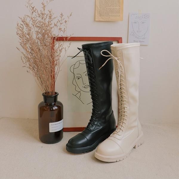 PUFII-靴子 皮質綁帶高筒厚底靴子-1119 現+預 冬【CP19527】