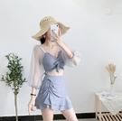 韓國ins網紅性感泳衣女小清新分體裙式沙灘泳裝顯瘦仙女范泡溫泉