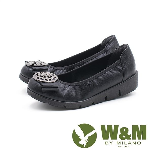 W&M 古典美 行雲圓扣厚底娃娃鞋 女鞋-藍(另有黑)