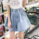 鬆緊腰闊腿ulzzang牛仔短褲女夏2019新款韓版大碼學生百搭a字裙褲