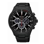 SEIKO SOLAR計時太陽能腕錶/黑鋼/V175-0DM0SD/SSC497P1