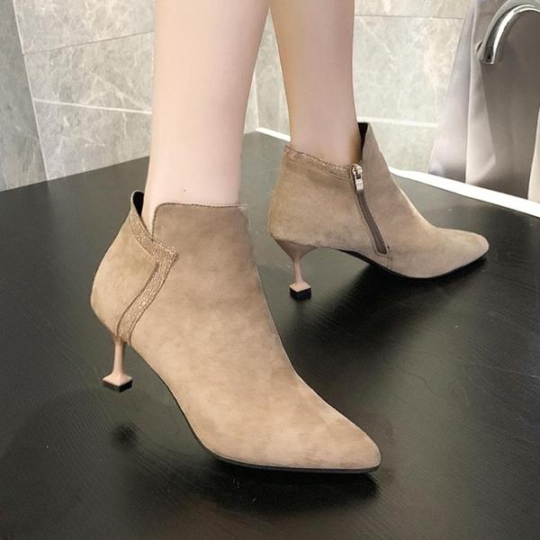 裸靴 裸靴女秋季新款馬丁靴踝靴細跟百搭網紅高跟鞋冬天瘦瘦小短靴