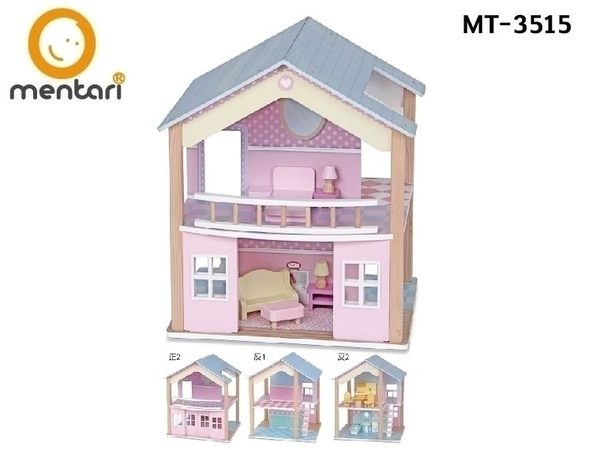 【Mentari 木製玩具】甜心洋房娃娃屋