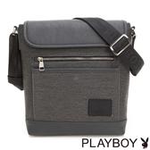 PLAYBOY- 直式翻蓋斜背包 GENTLE系列-斜紋灰
