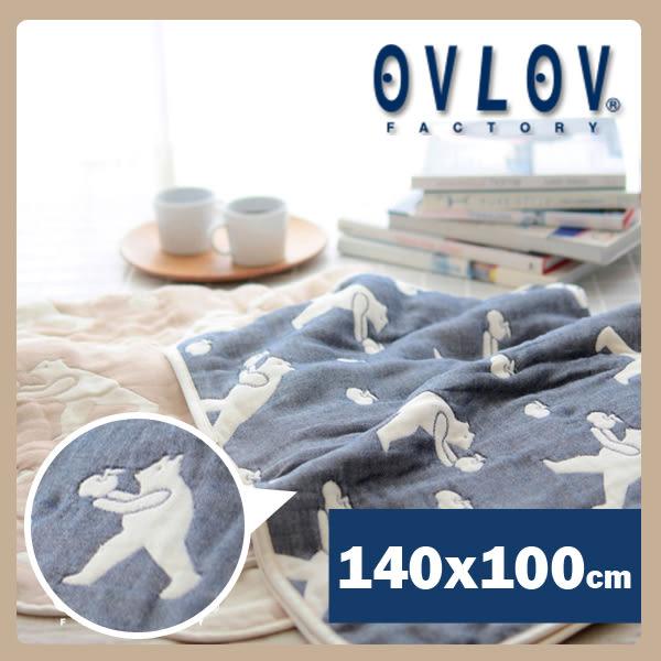 日本製六層紗單人童被-熊和蘋果(藍) OVLOV C-BKT-4017-BL-M