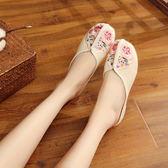 新款花團錦簇刺繡繡花布鞋 亮面包頭布藝拖鞋復古半拖涼拖鞋夏