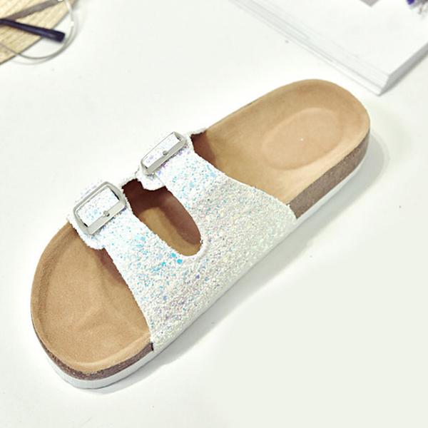 【Jingle】潮流時尚閃亮軟木雙扣一字拖夾腳涼拖鞋(亮片白全尺碼)大人款