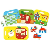 手提磁貼遊戲書組:青蛙跳棋、創意幾何拼圖、毛毛蟲吃蘋果