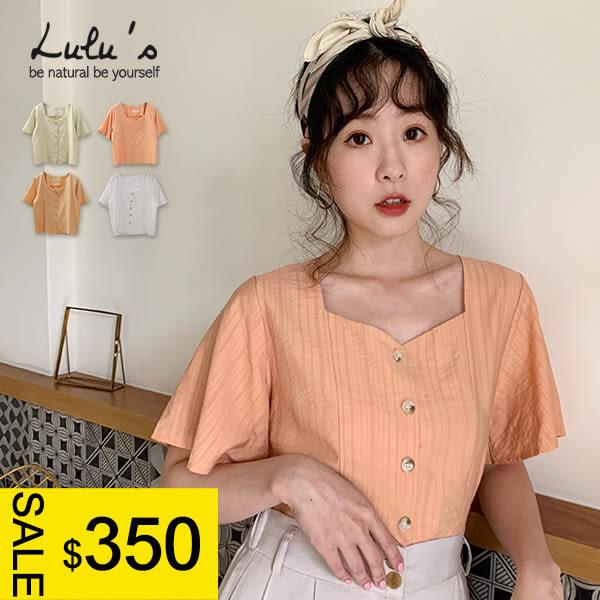 LULUS特價-Y方領排釦棉麻上衣-4色  【01190407】