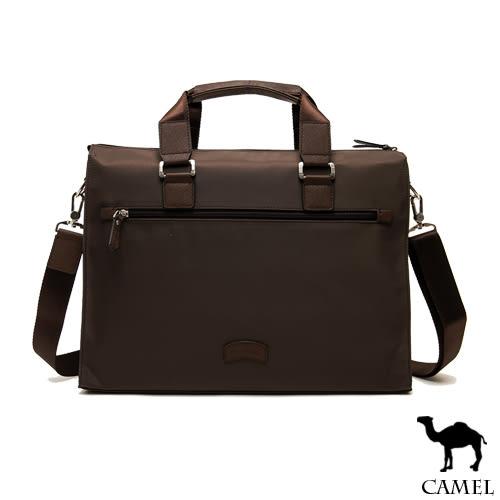 CAMEL - 倫敦品味十字紋防潑水牛皮公事包-共2色