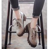 英倫復古女娃娃鞋 秋季新款英倫風女鞋復古百搭中跟布洛克單鞋粗跟軟妹小皮鞋女 99免運