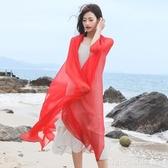 純色防曬絲巾女百搭春秋季圍巾薄紗巾長款超大紅色夏季披肩沙灘巾  俏girl