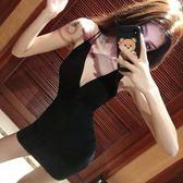 性感女裝大露背交叉夜店低胸雙肩帶細吊帶裙包臀短洋裝