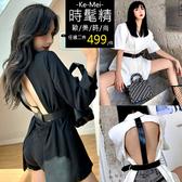 克妹Ke-Mei【AT60737】SPICY辛辣名媛T字皮革摟空美背腰帶西裝外套
