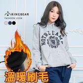 長袖上衣--簡約抽繩連帽率性英字印圖縮口袖刷毛上衣(黑.灰.藍XL-5L)-X301眼圈熊中大尺碼