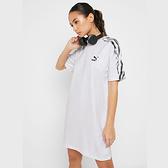 PUMA 白 黑LOGO 側邊 黑白渲染 長版 短袖T 女 (布魯克林) 2019/05月 57963702