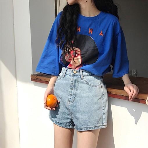 EASON SHOP(GW2141)韓版純色人像印花薄款長版OVERSIZE圓領短袖T恤裙女上衣服落肩寬鬆內搭衫棉T恤