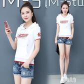 韓版白色T恤女運動帽衫2019新款女裝夏季短袖上衣衛衣套頭潮 LJ3410【原創風館】