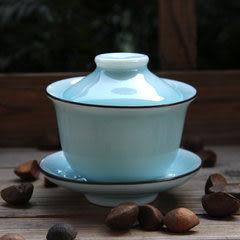 龍泉青瓷 手工弟窯天青蓋碗 功夫茶具帶蓋茶杯