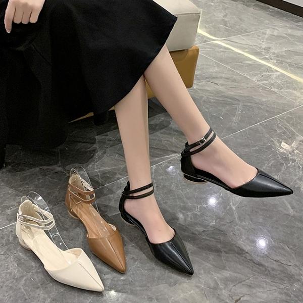 尖頭鞋.法式簡約縫線雙系帶繞踝低跟包鞋.白鳥麗子