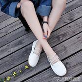 女鞋新款淺口小白鞋森女繫娃娃鞋平底圓頭豆豆單鞋交叉綁帶奶奶鞋   潮流前線