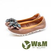 W&M 圓頭百搭 古典繡球花平底鞋-裸膚色(另有黑)