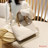毛絨包包 羊羔毛毛絨斜背包包女包新款單肩包女冬時尚大容量手提托特包 3色 快速出貨