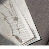 《ZC1248》銀羽毛與十字架多層次長項鍊 OrangeBear