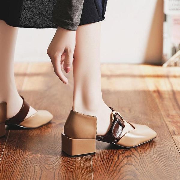 涼鞋 包頭涼鞋女新款夏季仙女風百搭復古方頭一字扣晚晚中粗跟單鞋