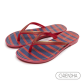 GRENDHA 海洋風紅藍條紋人字鞋-紅色/金