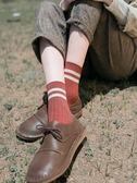 (交換禮物)條紋襪子女秋季新款2018中筒襪韓版學院風復古百搭純棉韓國學生襪