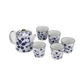日式 瀨戶燒 一壺五杯茶具組 藍藤花