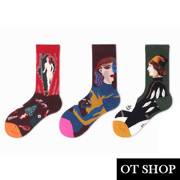 [現貨] 襪子 中筒襪 運動襪 中性 精梳棉  國王與王后 窗邊的裸女 城市獵人 個性文藝風 M1061 OT SHOP