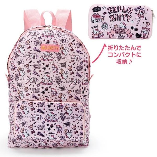 〔小禮堂〕Hello Kitty 可折疊尼龍後背包《粉黑.插圖》環保袋.雙肩包.書包包 4990270-11925