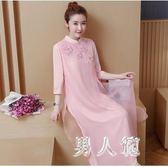 夏季新款大碼禮服女裝中國風寬鬆顯瘦連衣裙改良旗袍  df442『男人範』