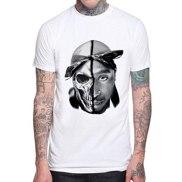 TUPAC-Skull袖T恤-3色 紐約 2Pac rap hip hop 嘻哈 歌手 饒舌 美國棉 gildan