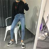 夏季新款韓版百搭修身牛仔高腰顯瘦鉛筆九分長褲 QQ227『優童屋』