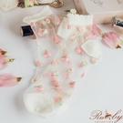 襪子 配色刺繡花朵透膚短襪-Ruby s...