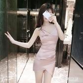 歐美風2020夏季新款夜店性感v領露腰顯瘦禮服包臀連身裙子 FX4731 【夢幻家居】