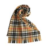 GINZA U 經典英倫風格紋100%羊毛圍巾(駝色) 359999-19