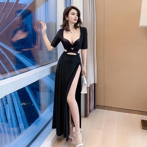 透視禮服 洋裝 工裝性感連身裙禮服裙低胸長裙黑色上班衣服會所貼身演出服連身裙