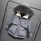 羽絨服 大毛領工裝派克羽絨服女短款2020年新款潮小個子收腰加厚時尚外套