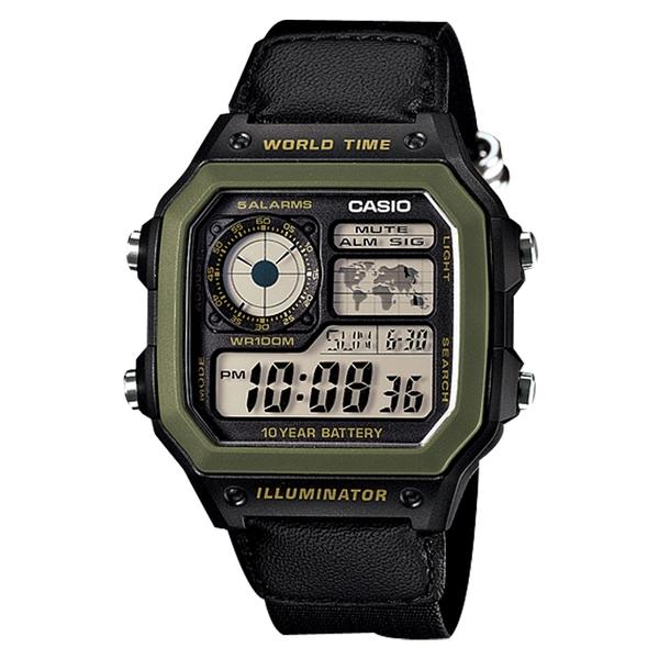 CASIO 卡西歐 手錶 專賣店 AE-1200WHB-1B CASIO 世界地圖方形 帆布錶帶 LED照明 防水100米 AE-1200WHB
