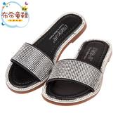《布布童鞋》金豪華水鑽黑色兒童拖鞋(16~21公分) [ R0H316D ]