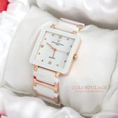 Valentino范倫鐵諾 珍珠貝面錶盤設計精密白陶瓷玫瑰金方形手錶腕錶【NE1246】原廠公司貨