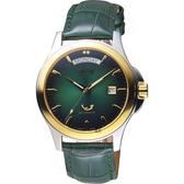 Ogival愛其華 尊爵時尚機械男錶-綠x金框/40mm 3353-7AMSK綠
