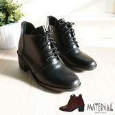 短靴 方頭質感綁帶短靴 MA女鞋 T9397