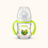 店長推薦 泡泡龍新生兒玻璃小寶寶防摔防脹氣寬口徑吸管喝水帶手柄嬰兒奶瓶