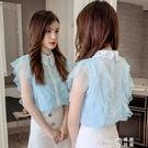 雪紡襯衫女2020夏季新款洋氣寬鬆超仙網紗拼接荷葉邊心機無袖上衣 (pinkq 時尚女裝)